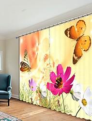 abordables -papillon et fleur impression numérique 3d rideau rideau ombrage haute précision tissu de soie noire de haute qualité rideau