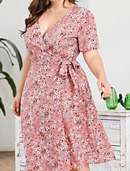 cheap -Women's Blushing Pink Dress Chiffon Floral V Neck XL XXL