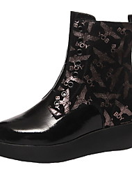 cheap -Women's Boots Print Shoes Flat Heel Round Toe Leather Booties / Ankle Boots Fall & Winter Black / Silver
