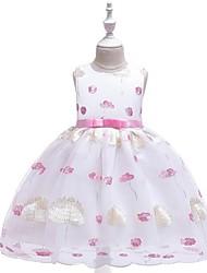 cheap -Kids Girls' Jacquard Mesh Sleeveless Dress Blushing Pink