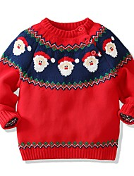 cheap -Kids Boys' Basic Geometric Christmas Long Sleeve Sweater & Cardigan Red