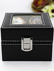 cheap -Leather 2 Watch Box Glass Top Watch Display Case Organizer,Black