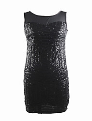 cheap -The Great Gatsby Retro Vintage 1920s Flapper Dress Masquerade Women's Sequins Tulle Sequin Costume Black / Black / Red / Black+Golden Vintage Cosplay Party Halloween Sleeveless