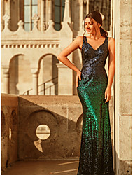 cheap -Mermaid / Trumpet Sparkle Green Party Wear Formal Evening Dress V Neck Sleeveless Floor Length Sequined with Sequin Split 2020