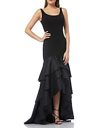 cheap -Mermaid / Trumpet Scoop Neck Asymmetrical Taffeta / Jersey Sexy / Black Party Wear / Formal Evening Dress with Ruffles / Tier 2020