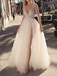 cheap -A-Line Plunging Neck Sweep / Brush Train Tulle Open Back Prom / Formal Evening Dress 2020 with Beading / Crystals