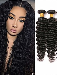 cheap -3 Bundles Brazilian Hair Deep Wave Human Hair Natural Color Hair Weaves / Hair Bulk 8-28 inch Human Hair Weaves Human Hair Extensions / 8A