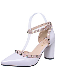 cheap -Women's Heels Chunky Heel Pointed Toe Beading / Buckle Faux Leather / Patent Leather British / Minimalism Spring & Summer Black / White / Pink
