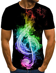 cheap -Men's Plus Size Flame Pleated Print T-shirt Street chic Exaggerated Daily Going out Round Neck Rainbow / Short Sleeve
