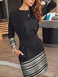 cheap -Women's Basic Sheath Dress - Geometric Print Black S M L