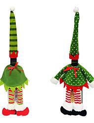 cheap -2pcs  Fashion Red Elf Stripe / Dot Wine Bottle Cover Bags Hat Dress Set For Christmas Dinner Table Decoration