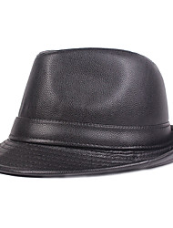 cheap -Men's Basic PU Bucket Hat Fedora Hat-Solid Colored Fall Winter Black Brown
