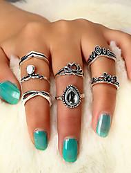 cheap -Ring Vintage Style Silver Alloy Crown Lotus Flower Shape Classic Vintage Ethnic 7pcs 6 / Women's / Ring Set