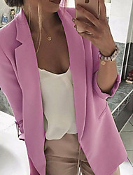cheap -Women's Blazer, Solid Colored Notch Lapel Polyester Black / Blushing Pink / Gray