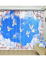 cheap -White Cloud Blue Sky White Pigeon Digital Printing Creative 3D Curtain Shade Curtain High Precision Black Silk Fabric High Quality First Class Shade Curtain