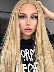cheap -Synthetic Lace Front Wig Silky Straight Middle Part Lace Front Wig Long Flaxen Synthetic Hair 18-24 inch Women's Synthetic Easy dressing Natural Hairline Light Brown