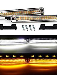 Недорогие -2 шт. Автомобиль drl светодиодные проточные водонепроницаемые полосы света drl дневного света поворота противотуманные фары белый поворот янтарный фары 12 В