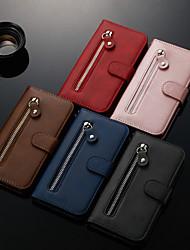 Недорогие -чехол для apple iphone xs / iphone xr / iphone xs max кошелек / визитница / с подставкой для всего тела чехлы из искусственной кожи сплошного цвета