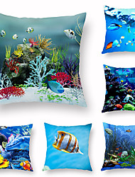 cheap -Sea World Pillow Case Air Conditioning Pillow Case Creative Print Pillow Case Sofa Auto Accessories Pillow Case