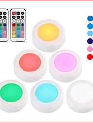 Недорогие -6 шт. Светодиодные шайбы огни RGB 13 цветов 21 ключ с регулируемой яркостью светодиода под кабинет свет для закрытия шкаф лестницы прихожая ночной светильник