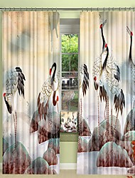 cheap -Chinese Painting Style Crane Digital Printing 3D Curtain Shading Curtain High Precision Black Silk Fabric High Quality Curtain