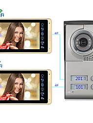 cheap -Wired & Wireless 7 Inch Hands-free Door Bell 1024*600 Pixel Wall Mounted  Remote Control  One to One Video Doorphone Support IOS / Android / Mutiple People Log In