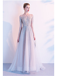 cheap -A-Line Jewel Neck Floor Length Tulle Elegant / Celebrity Style Formal Evening Dress with Beading 2020