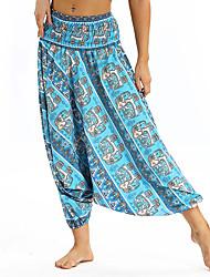 cheap -Women's Yoga Pants Harem 3D Print Light Blue Blue Dance Fitness Gym Workout Bloomers Sport Activewear Breathable Quick Dry Soft Loose / Winter