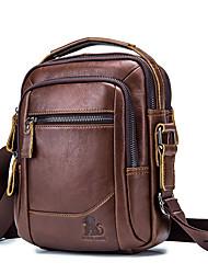 cheap -Men's Bags Cowhide Shoulder Messenger Bag Crossbody Bag Zipper Solid Color Daily Office & Career MessengerBag Black Brown