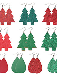 cheap -Women's Drop Earrings Earrings Hanging Earrings Cut Out Layered Christmas Tree Multi Layer Colorful Earrings Jewelry Light Blue / Dark Pink / skin For Christmas Bar Festival 1 Pair