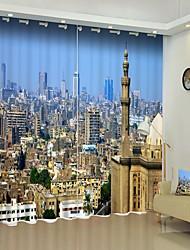 abordables -Ville européenne ville impression numérique 3d rideau rideau d'ombrage haute précision noir tissu de soie rideau de haute qualité