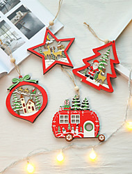 cheap -LED Light Christmas Tree Star Car Wooden Pendants Christmas DIY Crafts Children Gift Party Decoration