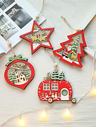 Недорогие -Светодиодные новогодние елки звезды автомобиля деревянные подвески рождественские поделки ремесла дети подарок украшение партии