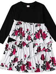 cheap -Kids Girls' Floral Dress Black
