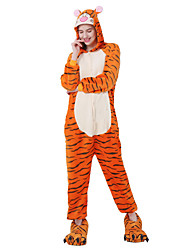 cheap -Adults' Kigurumi Pajamas Tiger Onesie Pajamas Flannel Fabric Cosplay For Men and Women Animal Sleepwear Cartoon Festival / Holiday Costumes