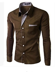cheap -Men's Work Business Plus Size Slim Shirt - Solid Colored Basic Classic Collar Black / Long Sleeve / Spring / Fall