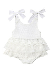 cheap -Baby Girls' Active White Solid Colored Sleeveless Long Cotton Romper White