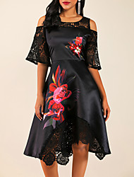 cheap -Women's Street chic A Line Dress - Floral Lace Ruffle Black M L XL XXL