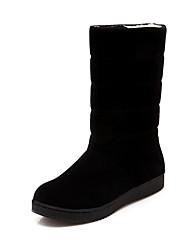 cheap -Women's Boots Snow Boots Flat Heel Round Toe Satin Mid-Calf Boots Casual Winter Black / Camel / Purple