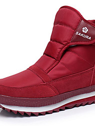 cheap -Women's Boots Snow Boots Flat Heel Closed Toe Canvas / Synthetics Booties / Ankle Boots Sporty / Classic Winter / Fall & Winter Black / Wine