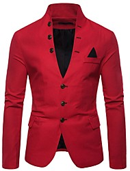 cheap -Men's Blazer, Solid Colored Stand Polyester Black / White / Red