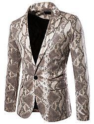 cheap -Men's Blazer, Animal Shirt Collar Cotton / Polyester Light Brown