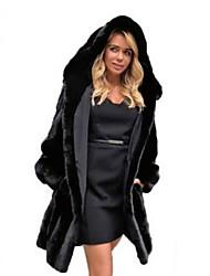abordables -Femme Quotidien Basique Automne hiver Longue Manteau de fausse fourrure, Couleur Pleine Capuche Manches Longues Fausse Fourrure Noir