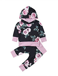 cheap -Baby Girls' Casual / Active Floral Print Long Sleeve Long Clothing Set Purple