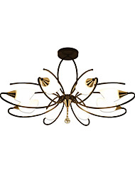 cheap -8-Light Antique Chandeliers 8 Lights Semi Flush Chandelier Ambient Light Painted Finishes Metal Glass Ceiling Lighting for Bedroom / Living Room / Dining Room