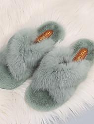 cheap -Women's Slippers & Flip-Flops Flat Heel Open Toe Rabbit Fur Spring &  Fall Black / Green / Beige