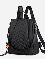 Недорогие -Большая вместимость холст Молнии рюкзак Сплошной цвет Повседневные Черный