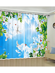 cheap -Creative Digital Printing of White Flower White Cloud Blue Sky and White Pigeon 3D Curtain Shade Curtain High Precision Black Silk Fabric High Quality First Class Shade Curtain