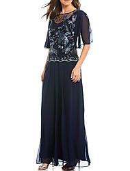 abordables -Deux Pièces Bijoux Longueur Sol Polyester Demi Manches Elégant & Luxueux Robe de Mère de Mariée  avec Appliques / Détail Cristal 2020