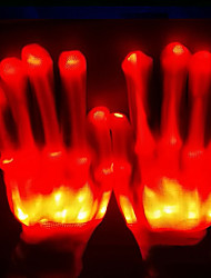 cheap -Skeleton / Skull Gloves Halloween Props Men's LED Stage Props Halloween Festival / Holiday Nylon Rainbow / White / Yellow Men's Women's Carnival Costumes